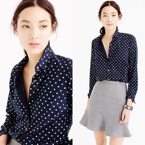 J. Crew Blue Foil Dot Button Down Shirt